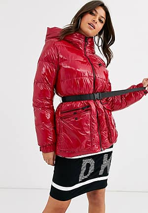 sport high shine padded jacket with belt detail and hood