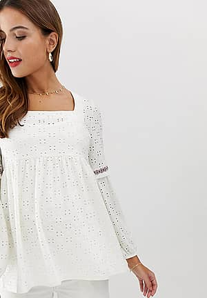 Mamalicious maternity broderie square neck smock top