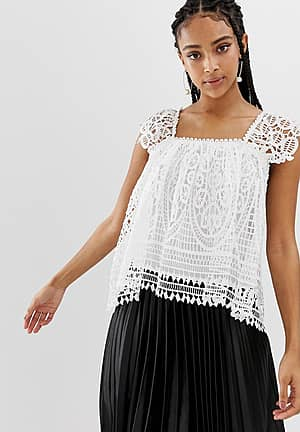 broderie lace low back top