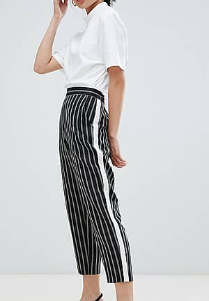 ASOS DESIGN Petite stripe tapered trousers with contrast side panel