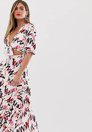 tie front asymmetric midaxi dress in abstract print