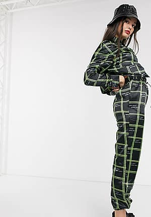 satin jogger in check print co-ord