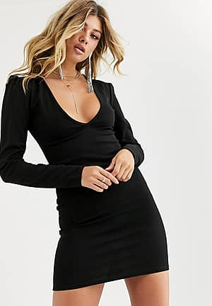 going out plunge front mini dress in black