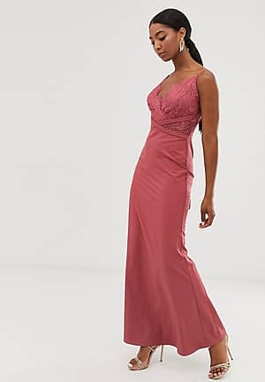 lace top fishtail maxi dress in dark coral