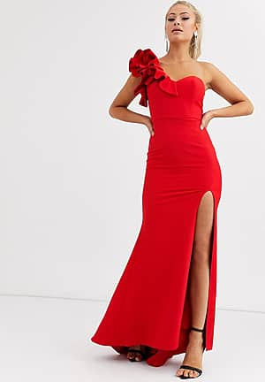 one shoulder maxi dress with ruffle detail in red