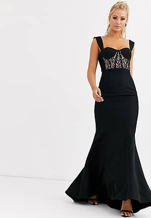 bustier maxi dress with lace insert in black