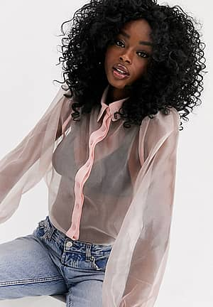 organza puff sleeve long sleeve blouse in pink