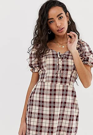dress with puff sleeve in check