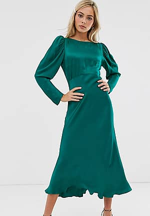exclusive Rosaleen long sleeve midi dress