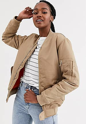boyfriend style bomber jacket with contrast lining