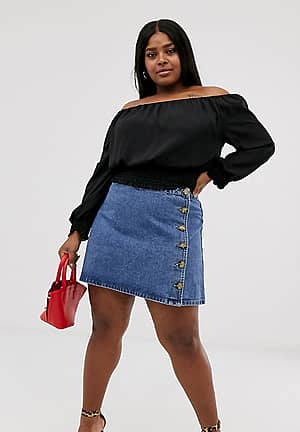 ASOS DESIGN Curve denim wrap skirt with side buttons in blue