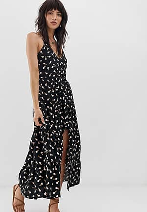 button front tiered maxi dress in black floral print