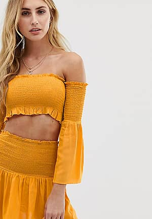 Exclusive shirred beach co-ord in yellow