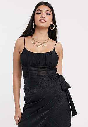 cami crop top in ruched mesh