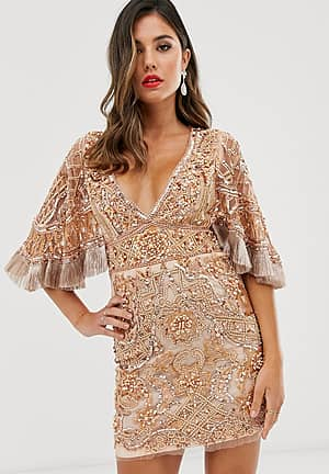 embellished mini dress with cape detail