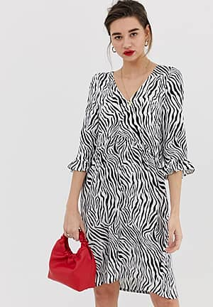zebra print dress with fluted sleeves