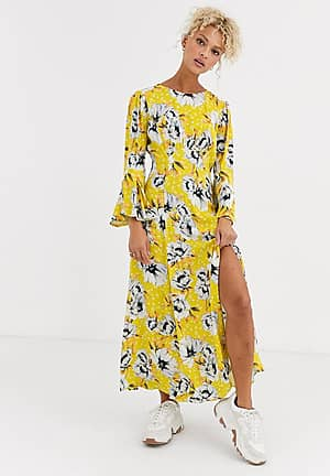 luisa floral midi dress in crepe