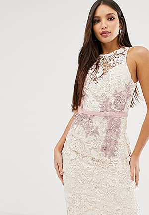 contrast lace floral applique pencil dress in cream