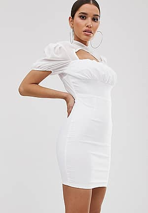 ruched mini dress with sheer halter neck in white