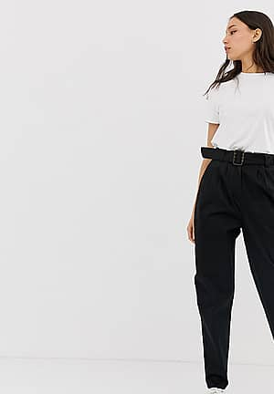 ASOS DESIGN Tall belted peg trousers with tortoiseshell buckle