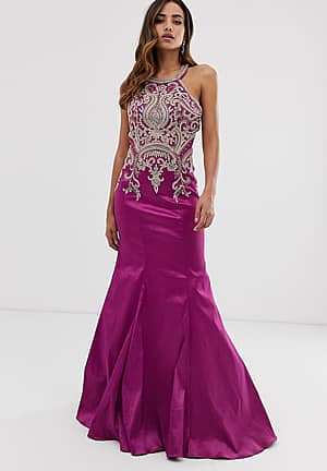 fishtail maxi dress with embellished detail