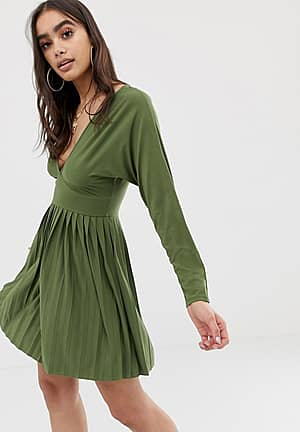 jersey crepe v neck mini dress with pleated skirt