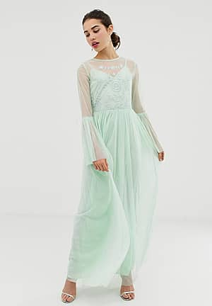 flute sleeve pleated maxi dress with embellished detail