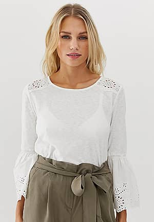 bell sleeve broderie detail top in white