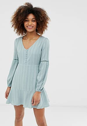 smock dress with button front detail