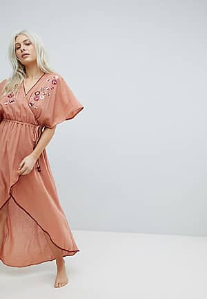 Devoted Embroidered Wrap Maxi Beach Dress