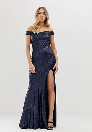 Club L all over sequin bardot thigh split maxi dress