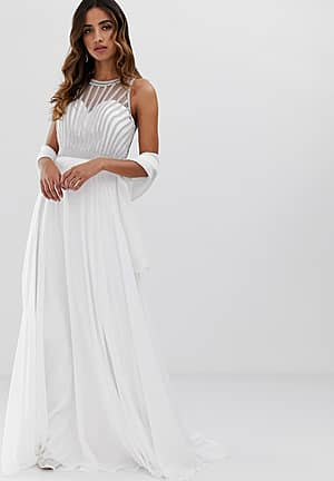 a line maxi dress with embellished top