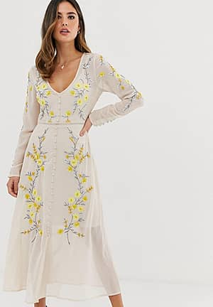 button through floral embellished midaxi dress in cream