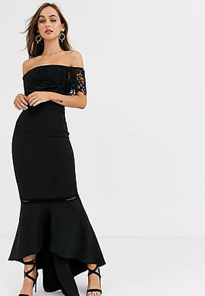 premium lace midi dress with ruffle detail in black