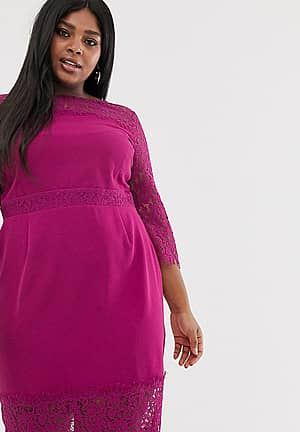 lace long sleeve and trim pencil dress in raspberry