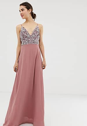 cami strap maxi dress with pleated skirt and embellished upper