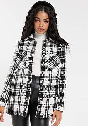 check tailored coat in black and white