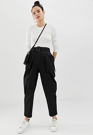 belted peg trousers with tortoiseshell buckle