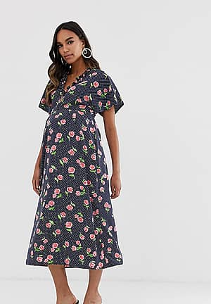 fluted sleeve midi dress in floral print
