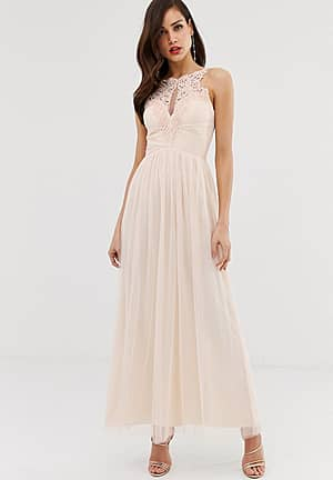 tulle maxi dress with lace detail