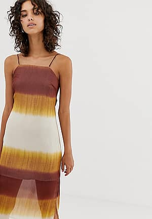 square neck cami dress in tie dye