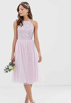 Bridesmaid halter neck midi tulle dress with tonal delicate sequins in soft lilac