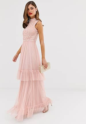 Frock & Frill tulle layered maxi dress with embellished detail