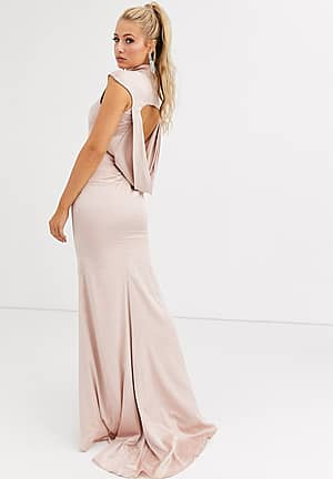 satin maxi dress with cowl back and fishtail skirt in pale gold