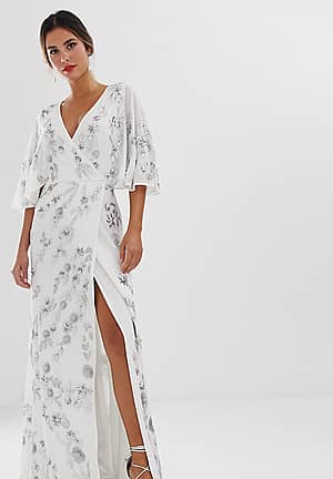 wrap front floral embellished maxi dress in white