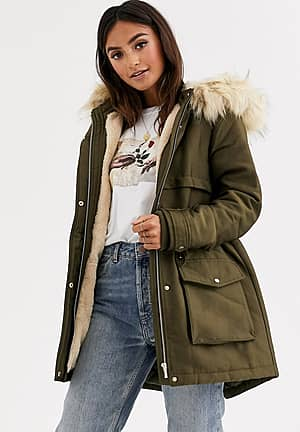 parka with faux fur hood in green