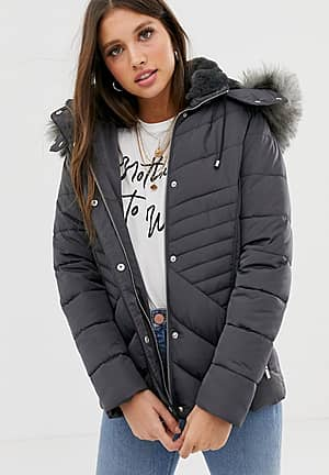 fitted puffer jacket in grey