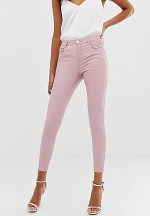 coated skinny jeans in pink