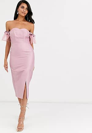 off shoulder midi dress with statement organza sleeve in dusky pink