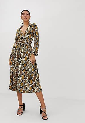 midi skater shirt dress with belt in snake print